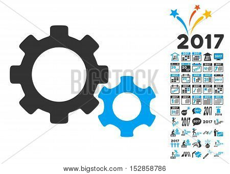 Gears pictograph with bonus 2017 new year graphic icons. Vector illustration style is flat iconic symbols, modern colors, rounded edges.