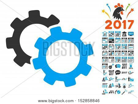 Gears pictograph with bonus 2017 new year pictograms. Vector illustration style is flat iconic symbols, modern colors, rounded edges.