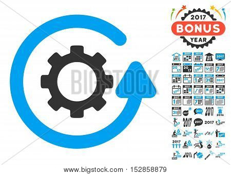 Gearwheel Rotation Direction pictograph with bonus 2017 new year design elements. Vector illustration style is flat iconic symbols, modern colors, rounded edges.