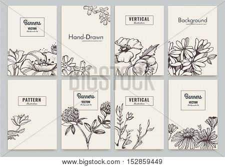 Set of Isolated creative template cards with flowers. Hand drawn vintage elements. Vector banners for card, poster, invitation, flyer, party, wedding, brochure. Flower design collection
