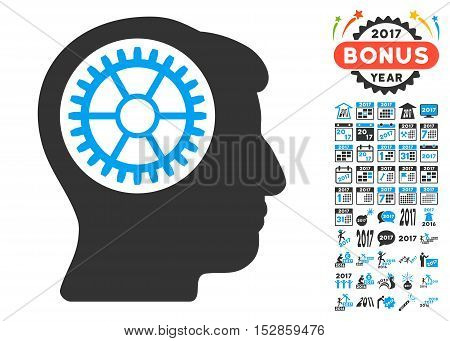 Head Cogwheel icon with bonus 2017 new year pictograms. Vector illustration style is flat iconic symbols, modern colors, rounded edges.