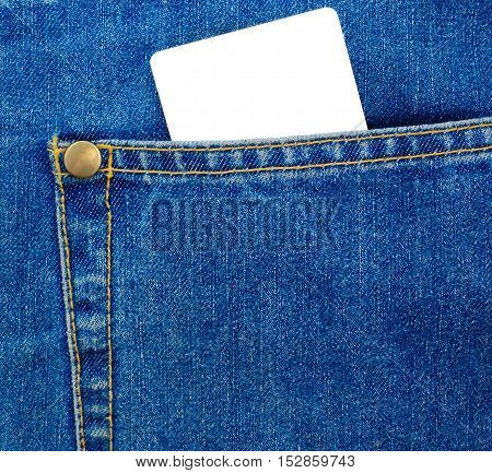 Blank plastic card in a jeans pocket. Blue Demin textile.