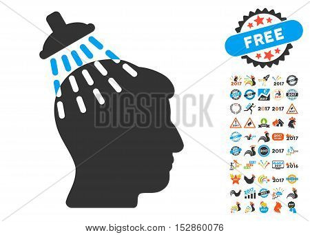 Head Shower pictograph with bonus 2017 new year icon set. Vector illustration style is flat iconic symbols, modern colors, rounded edges.