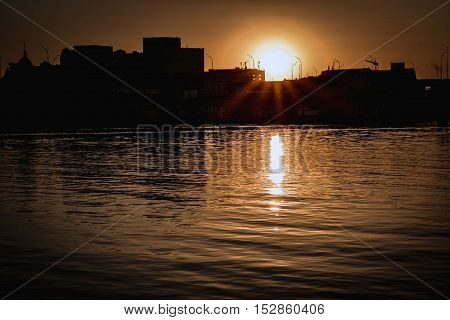 Evening river and sunset in Kiev city/