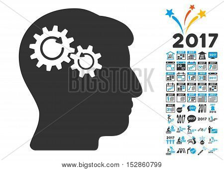 Head Wheels Rotation pictograph with bonus 2017 new year pictures. Vector illustration style is flat iconic symbols, modern colors, rounded edges.