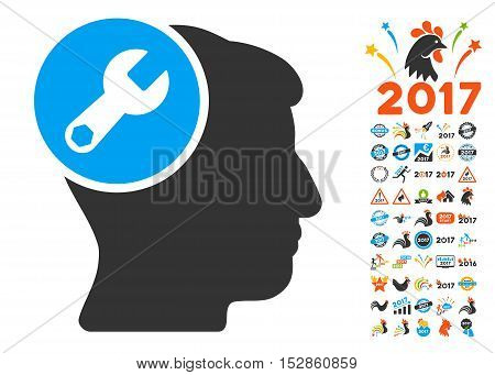Head Wrench Repair icon with bonus 2017 new year images. Vector illustration style is flat iconic symbols, modern colors, rounded edges.