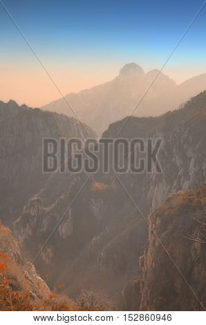 The Taishan Mountain range in the morning light in Shandong province China.