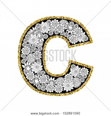 Hand drawn floral alphabet design. Gold glittering contour. Letter C. Vector EPS8 illustration.