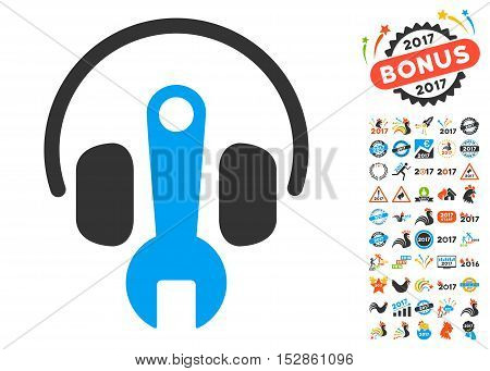Headphones Tuning Wrench pictograph with bonus 2017 new year design elements. Vector illustration style is flat iconic symbols, modern colors, rounded edges.