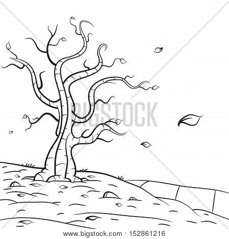 Hand drawn autumn scene, naked tree with leaves falling on the ground.
