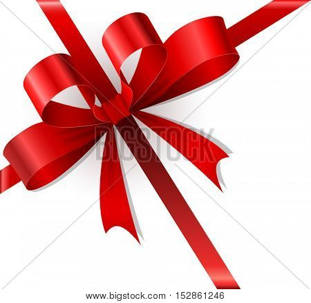 Red bow and ribbons Christmas gift vector template.