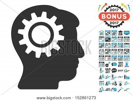 Intellect Gear icon with bonus 2017 new year icon set. Vector illustration style is flat iconic symbols, modern colors, rounded edges.