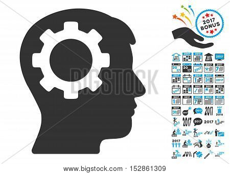 Intellect Gear icon with bonus 2017 new year pictures. Vector illustration style is flat iconic symbols, modern colors, rounded edges.