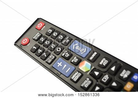 Black TV remote controller on white background