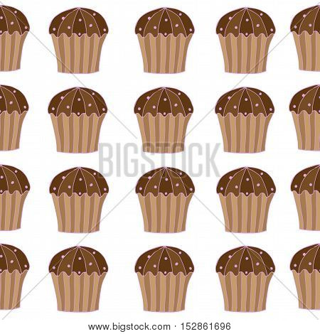Seamless pattern with cake on the white background for banner card invitation textile fabric wrapping paper.