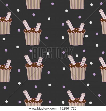 Seamless pattern with chocolate cake on the darc background for banner card invitation textile fabric wrapping paper.
