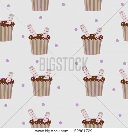 Seamless pattern with chocolate cake for banner card invitation textile fabric wrapping paper.
