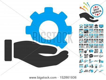 Mechanic Gear Service Hand pictograph with bonus 2017 new year design elements. Vector illustration style is flat iconic symbols, modern colors, rounded edges.