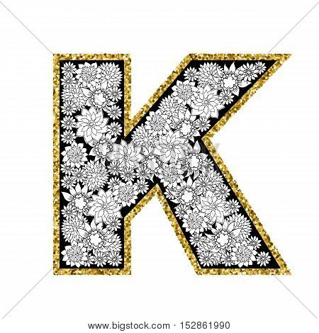 Hand drawn floral alphabet design. Gold glittering contour. Letter K. Vector EPS8 illustration.