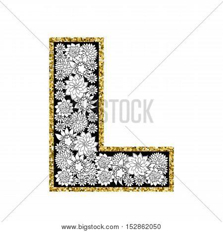 Hand drawn floral alphabet design. Gold glittering contour. Letter L. Vector EPS8 illustration.