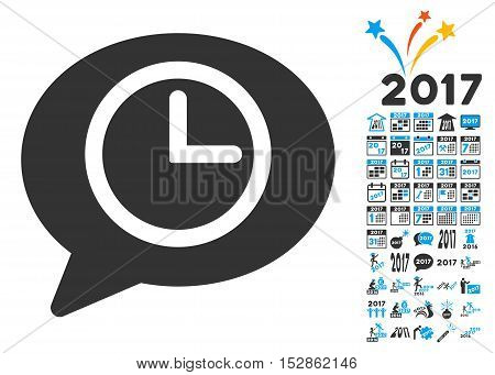 Message Time pictograph with bonus 2017 new year pictograms. Vector illustration style is flat iconic symbols, modern colors, rounded edges.