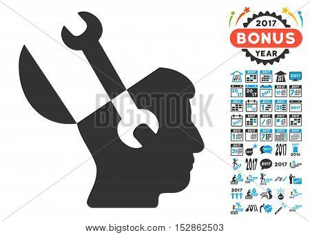 Mind Wrench Tools icon with bonus 2017 new year pictures. Vector illustration style is flat iconic symbols, modern colors, rounded edges.