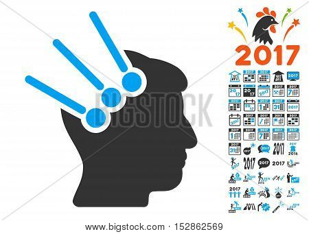 Neural Interface Connectors icon with bonus 2017 new year icon set. Vector illustration style is flat iconic symbols, modern colors, rounded edges.