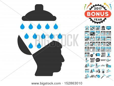 Open Brain Shower pictograph with bonus 2017 new year graphic icons. Vector illustration style is flat iconic symbols, modern colors, rounded edges.