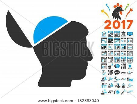 Open Brain icon with bonus 2017 new year clip art. Vector illustration style is flat iconic symbols, modern colors, rounded edges.