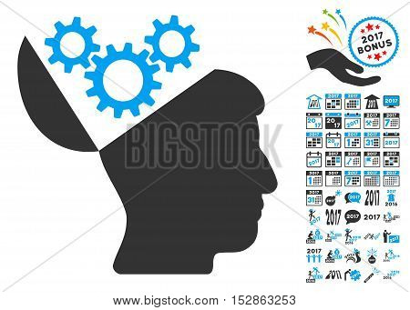 Open Mind Gears pictograph with bonus 2017 new year images. Vector illustration style is flat iconic symbols, modern colors, rounded edges.