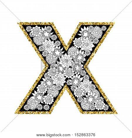 Hand drawn floral alphabet design. Gold glittering contour. Letter X. Vector EPS8 illustration.