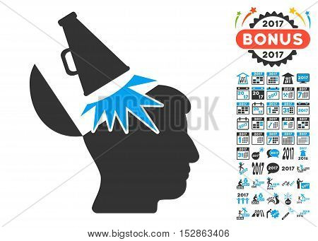 Open Mind Megaphone icon with bonus 2017 new year icon set. Vector illustration style is flat iconic symbols, modern colors, rounded edges.