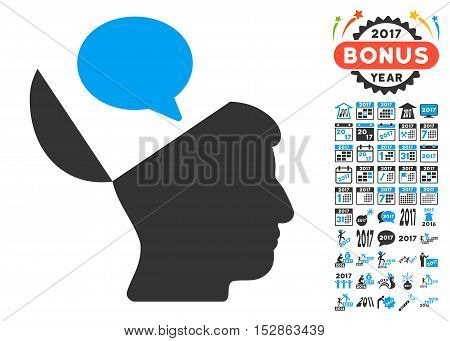 Open Mind Opinion pictograph with bonus 2017 new year clip art. Vector illustration style is flat iconic symbols, modern colors, rounded edges.