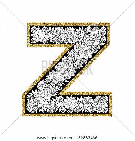 Hand drawn floral alphabet design. Gold glittering contour. Letter Z. Vector EPS8 illustration.