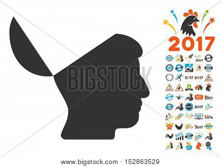 Open Mind pictograph with bonus 2017 new year graphic icons. Vector illustration style is flat iconic symbols, modern colors, rounded edges.
