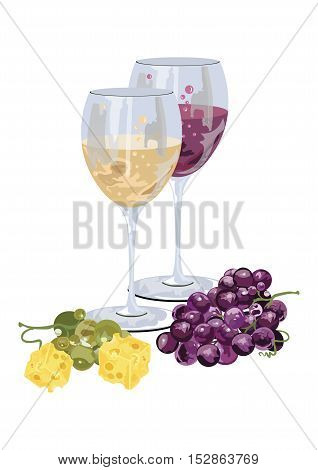 Glasses of wine with grapes and piece of cheese. Food background Vector