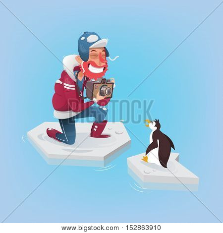 Photographer taking a picture of a penguin