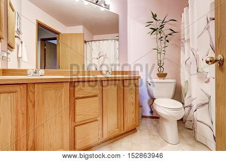 Bathroom Interior With Light Pink Walls And Double Sink Vanity