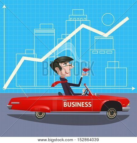 Businessman success flat design.Illustration businessman going on the road trip by car with modern buildings on the background. Travel by car.