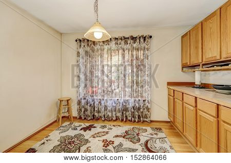 Empty Dining Room Interior With Window Curtain, Colorful Rug