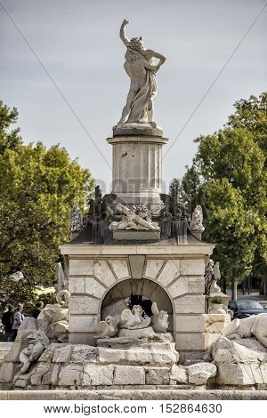Aranjuez Spain - October 16 2016: View at the fountain in garden of Royal Palace of Aranjuez The Royal Palace of Aranjuez is a residence of the King of Spain located in the town of Aranjuez. Madrid province Spain