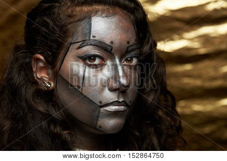Headshot Of Painted Face