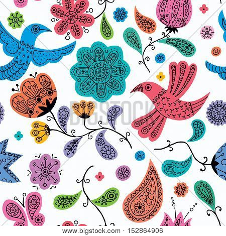 Seamless colorful floral doodles pattern. No transparency and gradients used.