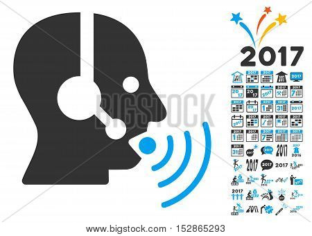 Operator Talking Sound Waves pictograph with bonus 2017 new year graphic icons. Vector illustration style is flat iconic symbols, modern colors, rounded edges.