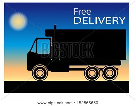 the silhouette of a truck on a blue background with orange lettering free delivery