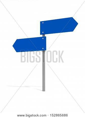 Blank Blue Road Signs Pointing In Opposite Directions 3d illustration White Background