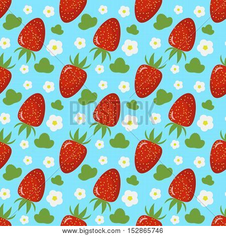 Bright seamless pattern with a strawberry leaves and flowers. turquoise background