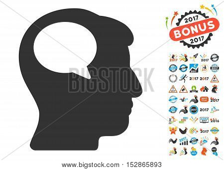 Person Thinking pictograph with bonus 2017 new year graphic icons. Vector illustration style is flat iconic symbols, modern colors, rounded edges.