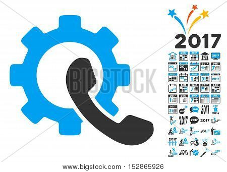 Phone Configuration pictograph with bonus 2017 new year symbols. Vector illustration style is flat iconic symbols, modern colors, rounded edges.