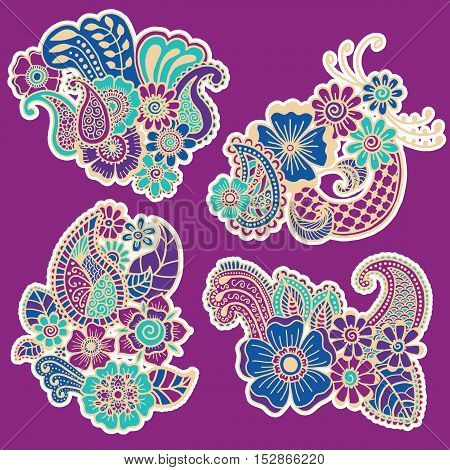 Mehndi design. Collection of patterns. Vector illustration
